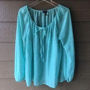 Jessica Simpson aqua sheer peasant blouse size L